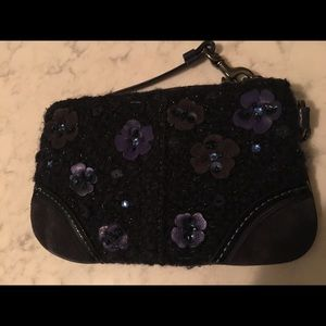 Coach Blue Tweed Wristlet with Flowers